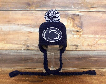 Penn State Hat - Newborn baby toddler infant child Nittany Lions stocking hat cap knit hat photo prop navy blue white