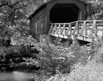 Sugar Creek Covered Bridge-8x10-B&W Fine Art Photo-Certificate of Authenticity-Signed by Artist