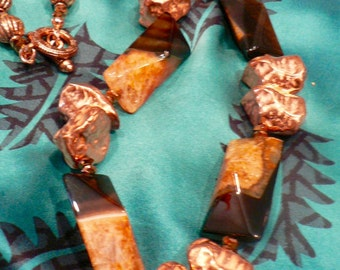 Agate/Copper Statement Necklace /Bold/Dramatic