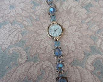 """Handmade Swarovski Crystal and Sterling Silver Wrist Watch, Light Blue, Toggle Clasp Closure, 7 1/2"""" Long, New Battery"""