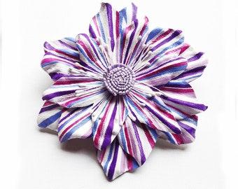 hand painted flower brooch, OOAK, leather, hair clip, flower corsage, flower hair pin, flower corsage, leather brooch, wedding brooch, (lf3)