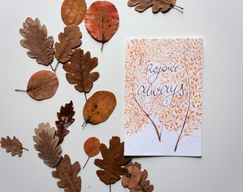 Rejoice Always Autumn leaves Card
