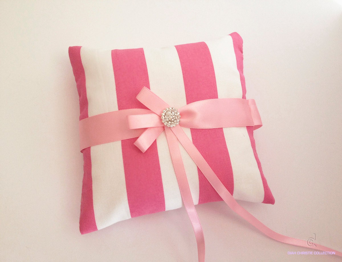 Pink Ring Pillow Small Wedding Ring Bearer White and Pink