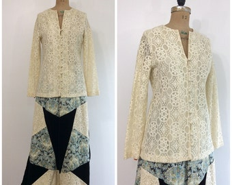 1970s Outfit Set Maxi Skirt Shirt Chessa Davis 70s Boho Lace