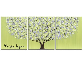 Wall Art Custom Tree Painting with Name Inscription for Green and Purple Girls Room with Sculpted Flowers on Large Canvas - 50x20