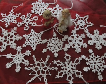 White crochet snowflakes winter decoration Christmas ornaments Hanging ornament Set of 6 in 20 available different designs