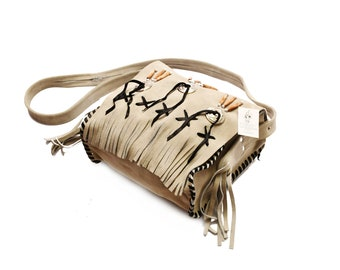 Traditional White Suede Leather Bag Purse Shoulder Cross Body with Fringe Bone and Beads