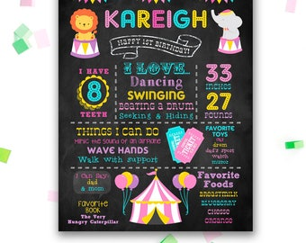 Girls Circus Chalkboard Poster - First Birthday Chalkboard - Printable - Any Age - 1st Birthday - Carnival - Pink - Digital File