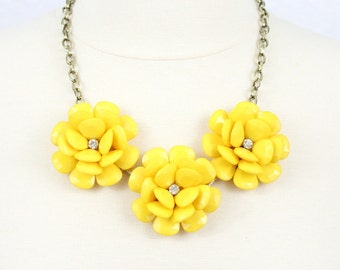 Yellow rose necklace etsy yellow flower necklace statement necklace beaded rose necklace chunky floral necklace collar necklace five flower necklace mightylinksfo