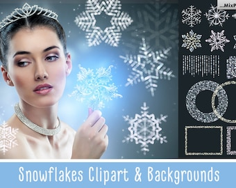 SNOWFLAKES Clipart + Backgrounds, Christmas Overlays, ClipArt, Winter Snow texture, Holiday Photo effect, wonderland, PNG, card