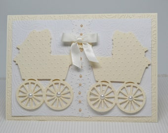 Handmade Baby Card, Twins Baby Card, Luxury Baby Card, Christening Card, Vintage Baby Carriage Card, Congrats Twin Baby Card