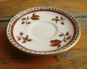 Vintage SPODE DEMITASSE SAUCER -- Darlington Orange Pattern, Fine Bone China from England, 1950s, Fine Dining