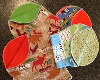 Double-sided Flannel Burp Cloths, Burp Pads, Burpies, Baby Gift, Baby Boy