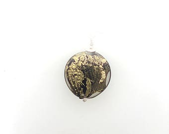 Gold foil bead pendant settings and 925 Silver Clasp