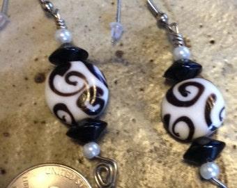 Black and white one of a kind earrings, pearl earrings,