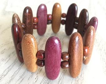 Costa Rican Wood Bead Bracelet, Wood Jewelry