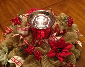 Christmas Centerpiece, Winter Centerpiece, Christmas Decor, Christmas Candle, Winter Decor, Table Centerpiece, Candle Centerpiece, Poinsetti
