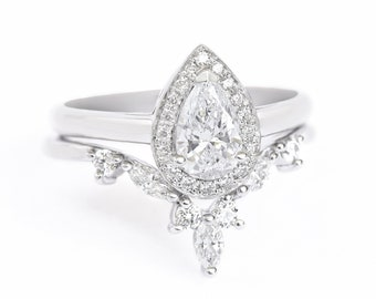 Pear diamond 0.6ct wedding ring set, Unique Halo Engagement Ring & Hermes Diamond wedding side ring, Pear diamond wedding bridal rings set
