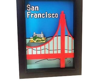 San Francisco Art Golden Gate Bridge Print San Francisco Print Golden Gate Bridge Wall Art 3D Art Alcatraz Wall Art California Print Pop Art