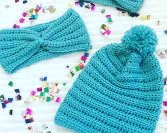 Turquoise Crochet Beanies,  Kids And Adult Size Crochet Beanies, Crochet Beanies, Beanies For Kids And Adults, Slouch Crochet Beanies