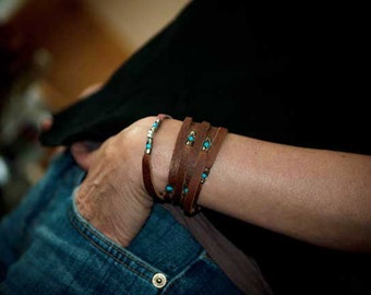 Womens Leather Turquoise Bracelet | The Sexy Siren | womens wrap bracelet with Sterling Silver settings holding beautiful Turquoise