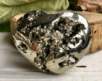 Sparkly Golden Pyrite Crystal Heart !