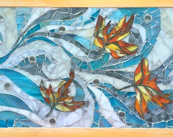 Autumn Stained Glass Mosaic Leaves Blowing Fall Wall Art