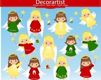 ON SALE christmas angel clip art, Christmas baby girl angel clip art, Fairies digital clip art, christmas angel clip art, instant downloa
