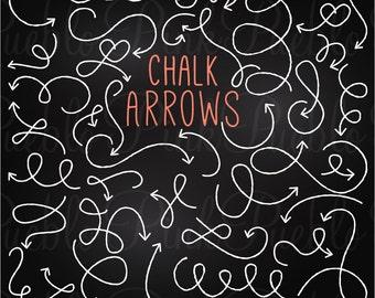 Chalkboard Arrow Clip Art Clipart, Chalk Doodle Curved Arrow Clipart Clip Art Vectors - Commercial and Personal Use