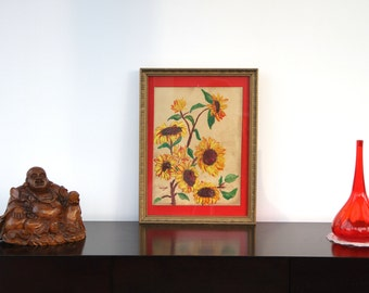Painting framed under glass Gouache on cardboard canvas _ flowers and nature