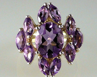 Natural Amethyst 925 Sterling Silver Beautiful Cluster Ring 5.18 Carats