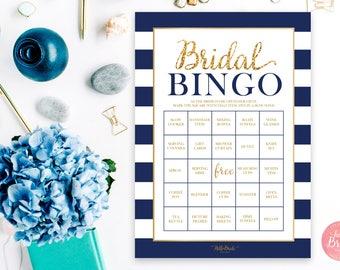 Bridal Shower Bingo - 50 BINGO BOARDS - Wedding Shower Bingo - Pre-Filled Bingo Cards - Navy and Gold - Bridal Shower Games - NB001