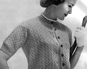 Ladies 1950's Vintage Summer Style Lacy Short Sleeve Cardigan Sweater to Knit