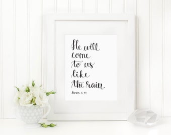 Hosea Scripture Print, Hand Lettered Art Print, Modern Calligraphy Print