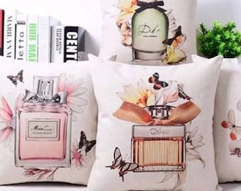 Decorative pillow, pillow cover 40x40 perfume Bottles