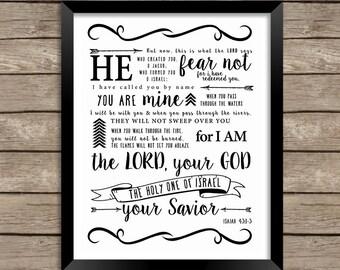 Bible Verse Printable, Scripture Print-Isaiah 43:1-3