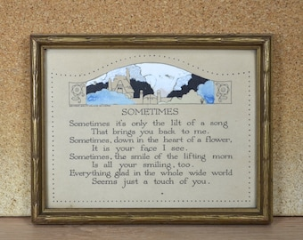 PF Volland Motto, Poem for a Friend SOMETIMES, ©1919 Framed Friendship Sentiment, Gold Painted Textured Wood Frame, Handpainted, Chicago