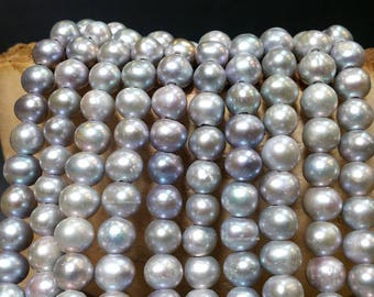 Full Strand 9 to 10 mm Large Hole Freshwater Pearl Potato Beads - Gray Grey Pearl 2.3 mm hole 16 inches strand (ET7237W65Q3)