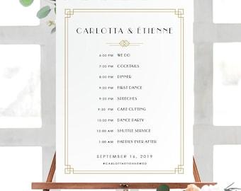Wedding Schedule Poster | Wedding Order of Events | Timeline Poster| Printable Wedding Poster | Printed Poster | Art Deco Wedding, Carlotta
