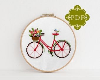 PDF Counted Cross Stitch Pattern - Spring Bicycle / bird cross stitch, bike, cycle, floral, gift, embroidery, dmc, needlework, craft pattern