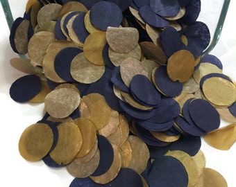 Navy and Gold Tissue Paper Confetti   Wedding Decororations Party Confetti  Circle Confetti Table Scatter  Save The Date Invitation Filler