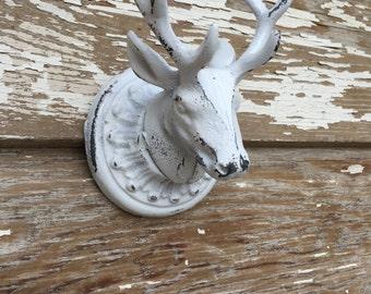 Cast Iron Wall Decor - Deer Head Hook - White Distressed