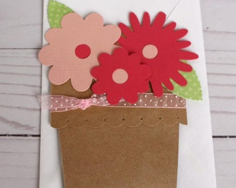 Pink Flower pot card, Handmade Card, Mother's Day Flower Card, Paper handmade greeting card, Any Occasion Card, Blank Card, Flower Tag