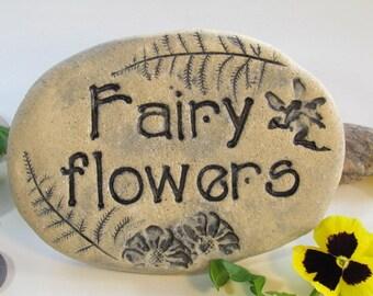 Fairy Flowers - Ceramic Fairies garden plaque. Plant marker for wildflowers, enchanted garden. Natural eco friendly garden decor