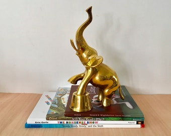 Reserved////Vintage Solid Brass Circus Elephant with an Upturned Trunk