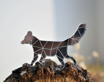 Fox acrylic brooch - mirror acrylic fox brooch, mirror silver fox brooch, mirror fox brooch, mirror perspex brooch fox - made to order
