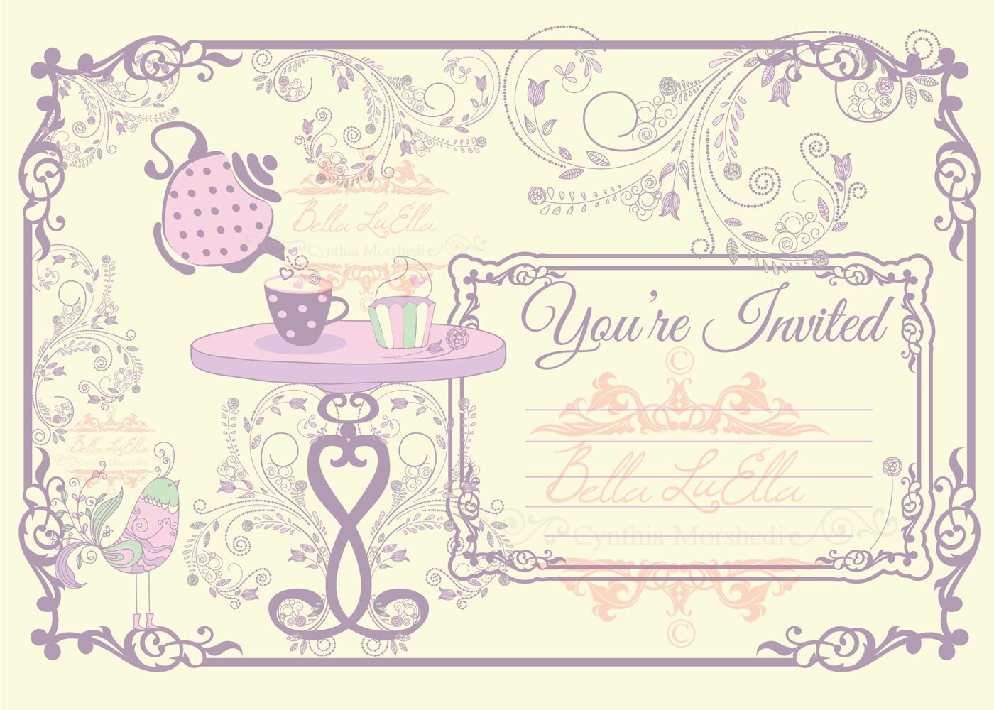 Tea Party Invitation Blank Downloadable from Bellasclipart on Etsy ...