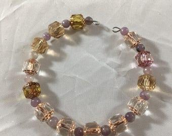 Peach and purple beaded cuff bracelet