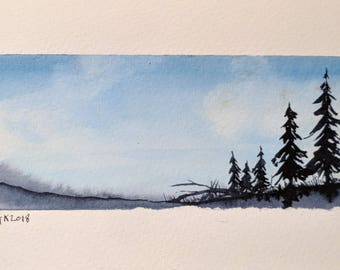 TinyWinter Landscape --  Original Watercolor