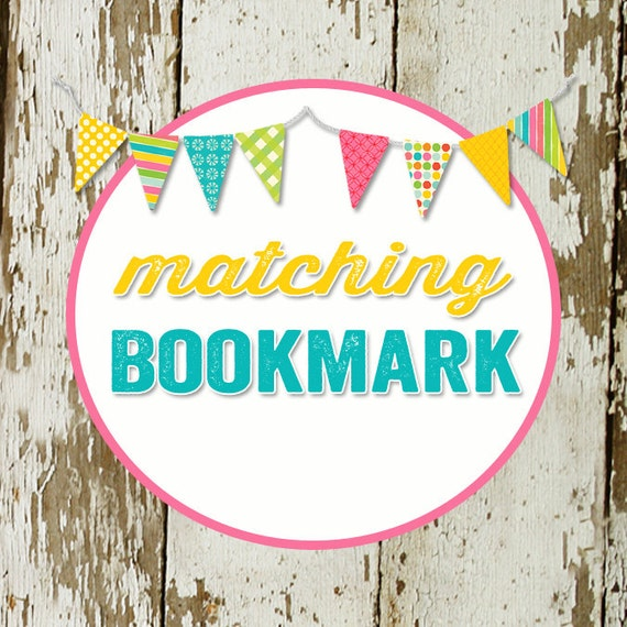 BOOKMARK to match any design for baby shower or party, digital, printable files katiedid designs cards